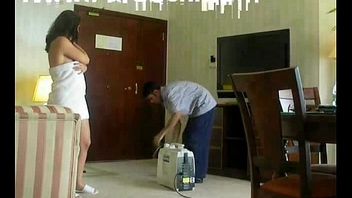 Half nude Arab slut wife taunts another hotel worker