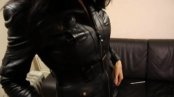 Milf in distress leather skirt, leather boots and leather jacket