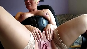 Unceremonious Haired Blonde MILF Spreading added to Masturbating Pussy on Webcam