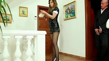 Fondling maid golden shower