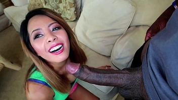 Little Asian Wants round try a Big Black Dick