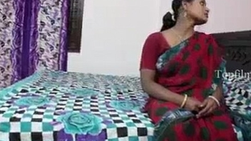 Big special indian aunty in red saree fucked by neighbour boy..and  record her