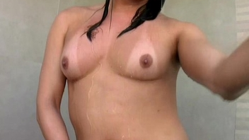 Bikini shelady beauty is tugging good sized cock in the shower