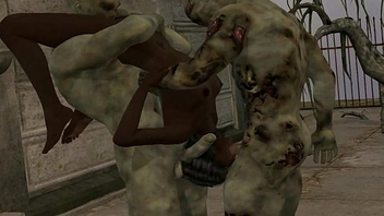 3D ebony babe facsimile teamed outdoors by some zombies